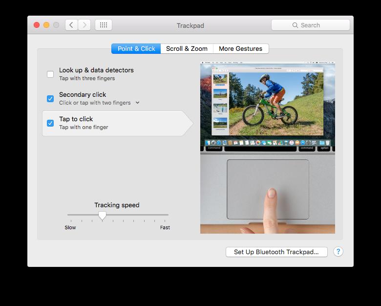 Nastavenie ťapnutia trackpadu ako kliknutia